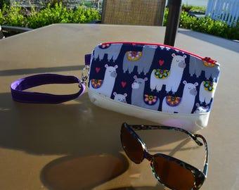 Wristlet Clutch, Small purse, Custome purse, slip pocket, Birthday Gift, Thank you Gift, Handmade purse, Llama purse