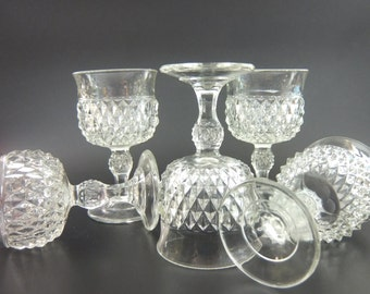 Indaina Glass Diamond Point Clear Pressed Glass Wine Glasses. Set of 5, 1970s