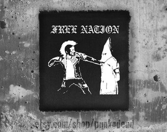 Free Nation Patch • punk patch • back patch • black patch • patches •punk aufnäher • custom patches