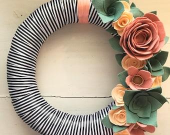 Felt flower wreath• Ribbon wrapped wreath• Wreath