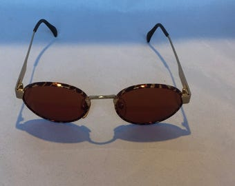 Vintage 1990's ByBlos Sunglasses, Round/Oval, Red Tint, Gold Frames, Tortoise Shell Rims, Retro, Hipster, Gift for Her, Mother's Day Gift
