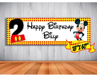 Mickey Mouse Personalized Indoor/Outdoor Birthday Banner.