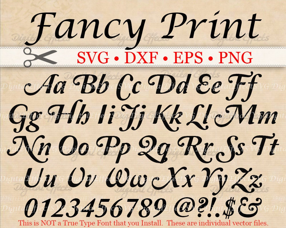 Fancy print svg scroll font retro script monogram svg dxf for Big fish script