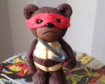 Turtle Comic Con Bear - Polymer clay bear figure dressed in style of Ninja Turtle Raph