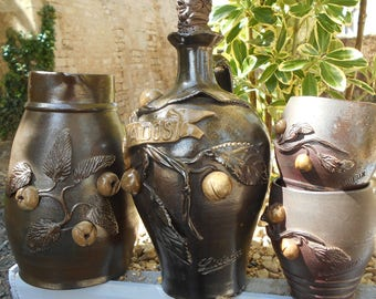 Four Vintage French 'Calvados' Handmade Jug/Bottle and Two Mugs.  Clay Leaves, Apples and 'Liseaux' Details and  'Norman Head' Stopper