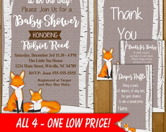 Fox Baby Shower Invitation, Diaper Raffle, Books for Baby, Fox Shower Invitations, Fox Shower, FX001O, Thank You Card