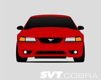 1999-2002 Mustang SVT Cobra // SVT Mustang Poster // Mustang Print // Modular Cobra