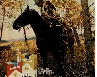 1973 Marlboro Cigarette Vintage magazine ad (come to where the flavor is) Collection wall decor man cave (1702)