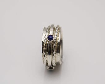Hand Made Sterling Silver Spinning Ring set with 3 Lapis Lazuli