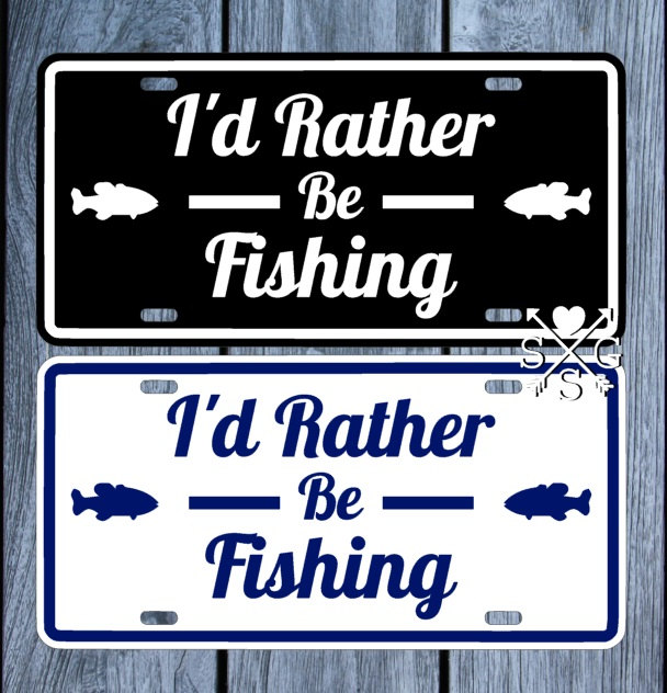 Fishing i 39 d rather be fishing license plate fishing car for Florida temporary fishing license