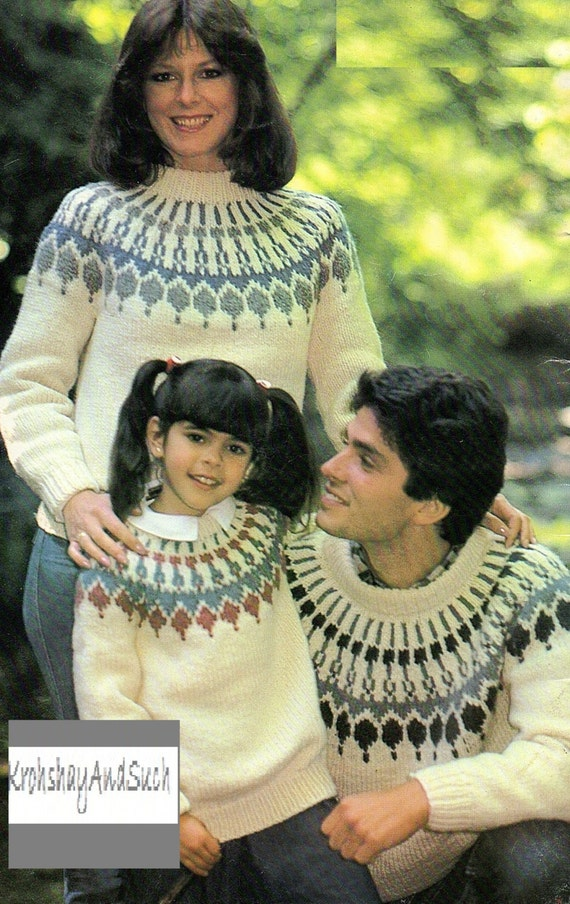 Family Fair Isle Sweaters Knitting Pattern. PDF Instant