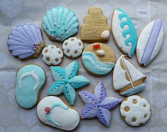Beach, seashell, starfish, neutical cookies, surfer cookies. beach life, sealife, underwater cookies
