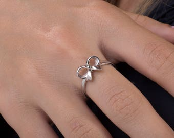 Bow Ring , 925 Silver rings,Ribbon ring.