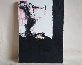 Oil Painting. Minimal, Abstract, Black, White and Red Silhouetted Male Figure. 'Gravity' Emotional & thought provoking art. Ready to Hang.