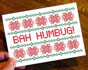 Bah Humbug! - Funny Christmas Card - Seasons Greeting - Christmas Card - Scrooge