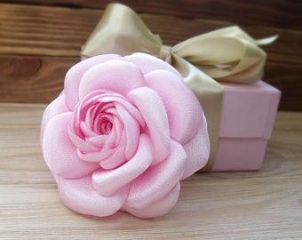 Camellia brooch, chanel style, flower brooch, Pink camellia, camellia for hair, camellia decoration, handmade flower, stylish brooch,2017
