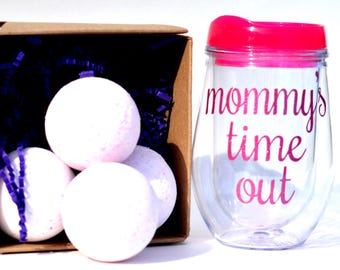 Gift for new moms, includes 4 large bath bombs and mommys time out wine tumbler, gifts under 30, gift sets for women