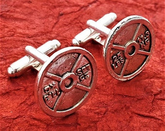 Fitness Gifts Men, CrossFit Gifts, Weightlifter Cufflinks, Weight Plate Cuff Links, Sports Charms, Bodybuilding Gifts, Fitness Gifts for Men