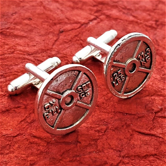 Fitness Cufflinks, CrossFit Gifts, Fitness Gifts for Men, Weightlifter Cufflinks, Weight Plate Cuff Links, Sports Charms, Bodybuilding Gifts