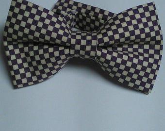Purple and Cream pre-tied bowtie