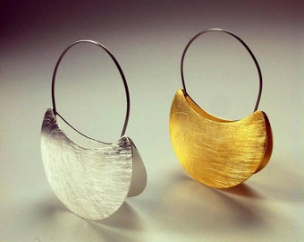 African jewelry, dangle earrings made with silver ang gold, african earrings for woman,  ethnic sterling silver hoop earrings