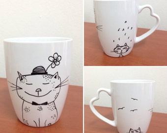 Cat lover coffe cup \ Porcelain mug \ Tea cup \ Mug with cat \ Cat lover gift \ Tea mug \ Coffe mug \ Cats lover gift