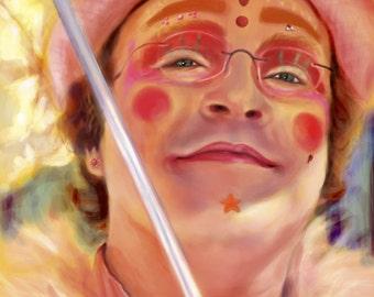 Pink Umbrella Man // Santa Cruz Art // 8x10 11x14 // Print of a portrait of a Santa Cruz legend