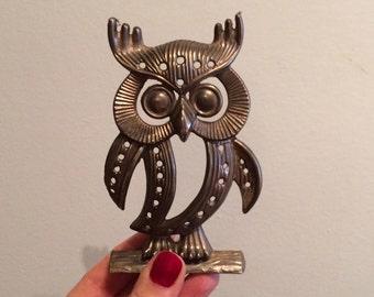 vintage, brass, owl stud earring holder, adorable