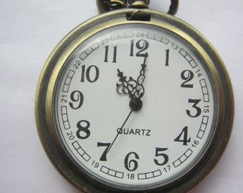 Ladies watch quartz necklace, length 40 cm, spring cover clock ca. 1990 Barerie new