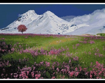 Scenery Cross Stitch Pattern - Scenery - Mountain - Field - PDF Download