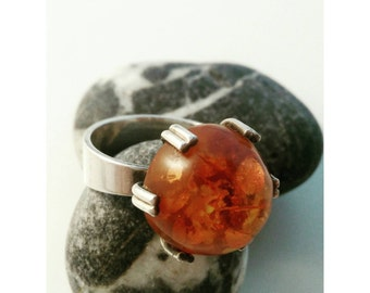 Fischland schmuck silver amber ring. Germany