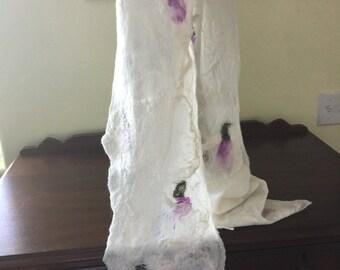 SUMMER SALE!  20% OFF!  Hand Felted Cobweb Scarf, Merino 19.5 Micron, Silk Hankies, Violet Flowers