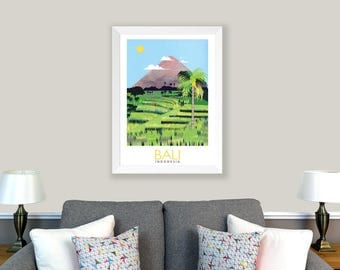 POSTER Bali, Indonesia. Print of original collage. Green, rice fields, paddy fields, mountain, palm tree, travel poster. Home decoration