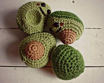 Crochet Avocado Toys, Avocado Toys, BFF Gift, Best Friend Gift, Play Food, Toddler Toys, Baby Toys, Vegan Gift, Stocking Stuffer, Christmas