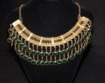 Vintage Gold Tone Emerald Green Bib Necklace 17""