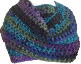 Chunky scarf, Infinity Scarf, Bulkyr scarf, Multicoloured scarf,  Purple green blue  scarf Chunky crocheted scarf Colourful circle scarf