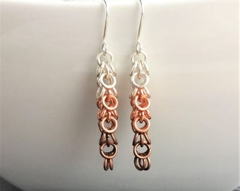 Chainmaille earrings, ombre earrings, copper earrings, handmade earrings, dangle earrings, mixed metal earrings, handmade chainmaille