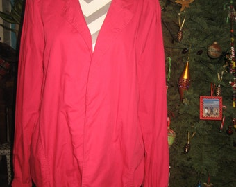 Red Lightweight Jacket with 2 Pockets, Gathered Elastic Wrists and Bottom /Open no-closure front