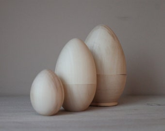 Hollow Wooden Eggs / 3 in 1 / 4.3 inch / Wooden Egg