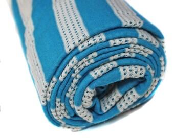 Blue & White Stripe Fabric, 2.5 Yards Knit Fabric, Retro Fabric, 80's Look Fabric by the Yard, Destash, Mesh Fabric