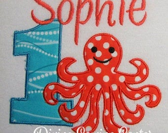 Personalized Girls' First Birthday Shirt. Octopus Birthday Shirt or Onesie. Boy's Birthday Shirts. Girl's Birthday Top. Ages 1-9. Octopus008
