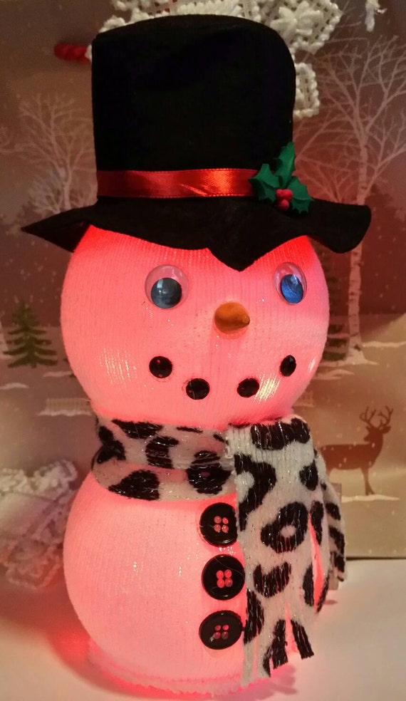 Items Similar To Glass Fish Bowl Snowman With Mini Battery