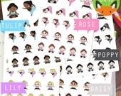 Yoga Fitness Kawaii Girl Workout Exercise Sticker Set - Planner Stickers - Planner Decorations - Kikki-K & Erin Condren