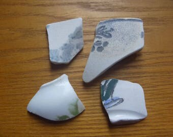 green and brown patterned sea pottery shards, 4 floral patterned sea pottery shards