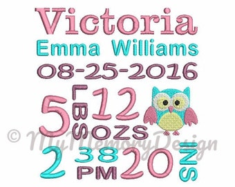 Custom Baby Girl Stats Embroidery Design - Personalized made embroidery file - Baby embroidery design - Not instant download - 4x4 5x7 6x10