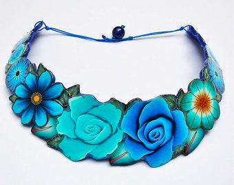 Blue torque in polymer clay necklace