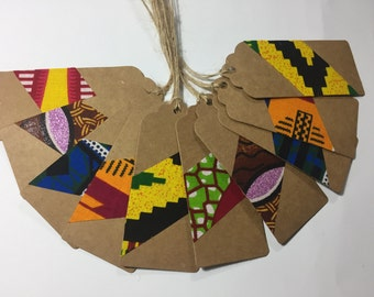 Gift tags, 10 assorted African print fabric gift tags, african gift tags, ankara gift tags, holiday tags, UK free shipping