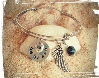 Be Brave - Adjustable Charm Bangle//Braided Stainless Steel//Hand Stamped Charm//Wing//African Turquoise//Initials - Gift for Her