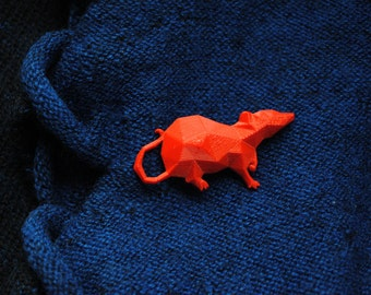 Polygonal 3D printed Rat Brooche