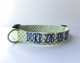 Embroidered Dog Collar, Embroidered Boy Dog Collar, Personalized Dog Collar, Boy Dog Collar, Green Collar, Personalized Collar, Blue Collar
